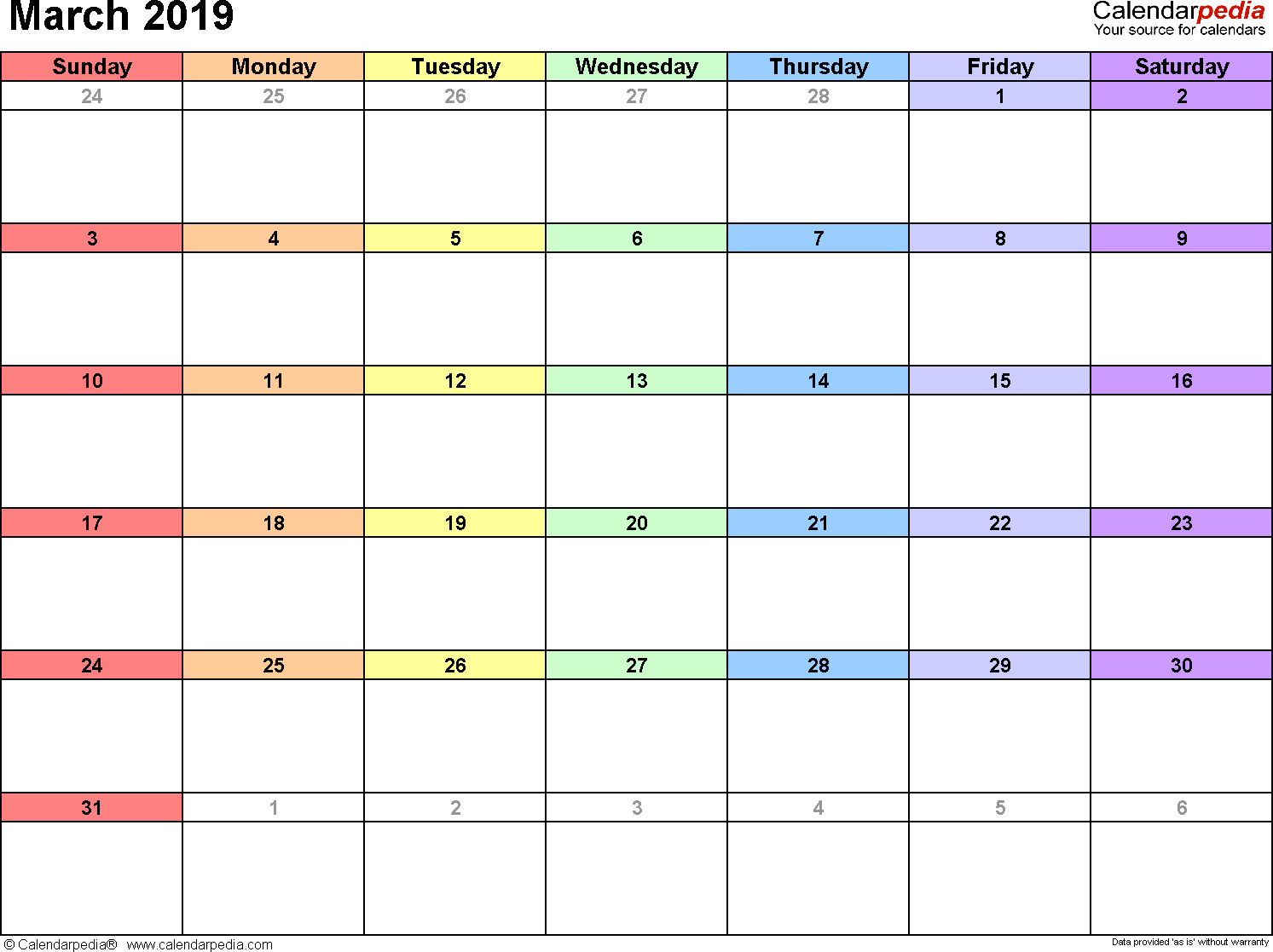 March 2019 Calendar Fillable Excel Template