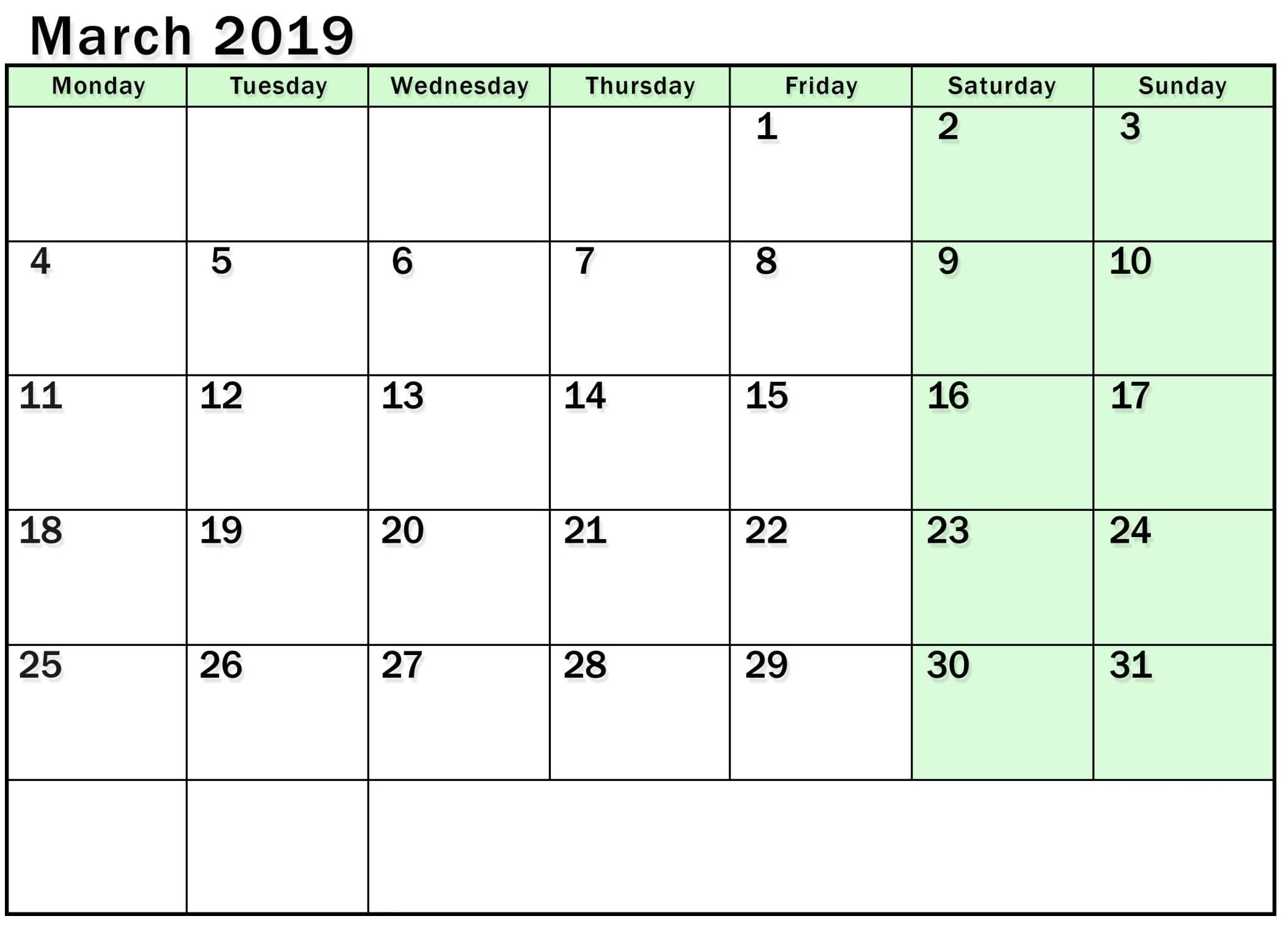 Editable March 2019 Calendar Blank Template With Notes