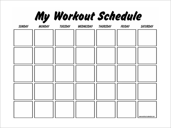 My Workout Schedule Template Free Download