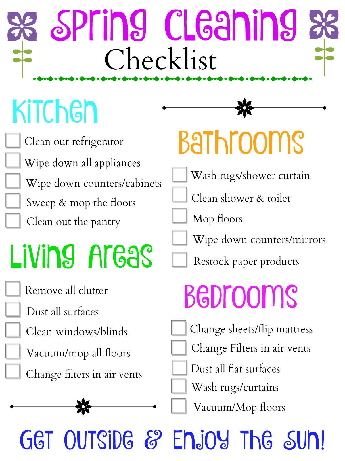 Spring Cleaning Checklist Bedrooms