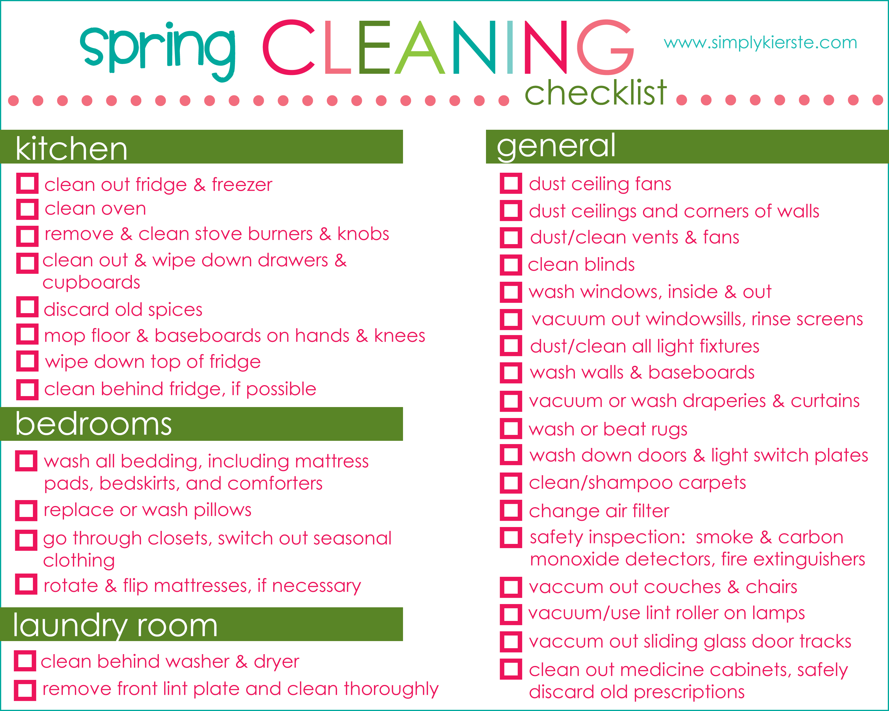Spring Cleaning Checklist Outside