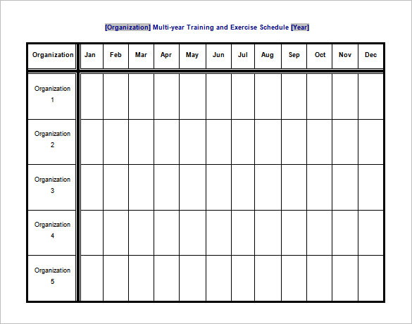 Training and Exercise Schedule Template Free Word Format
