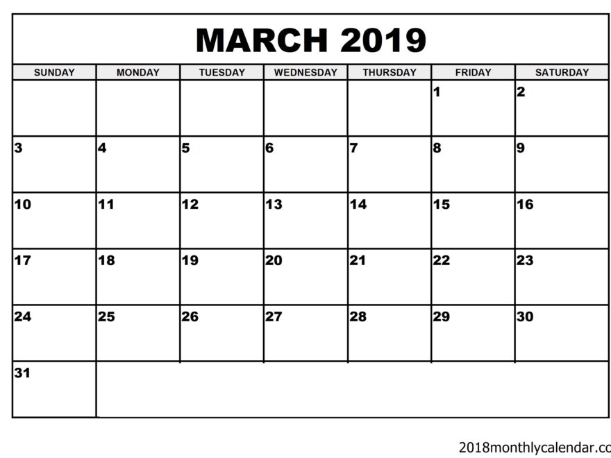 Download Fillable March 2019 Calendar Printable