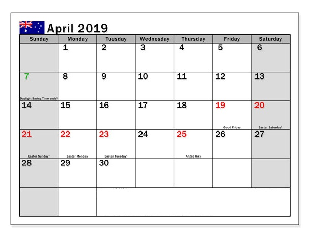 April 2019 Australia Holidays Calendar