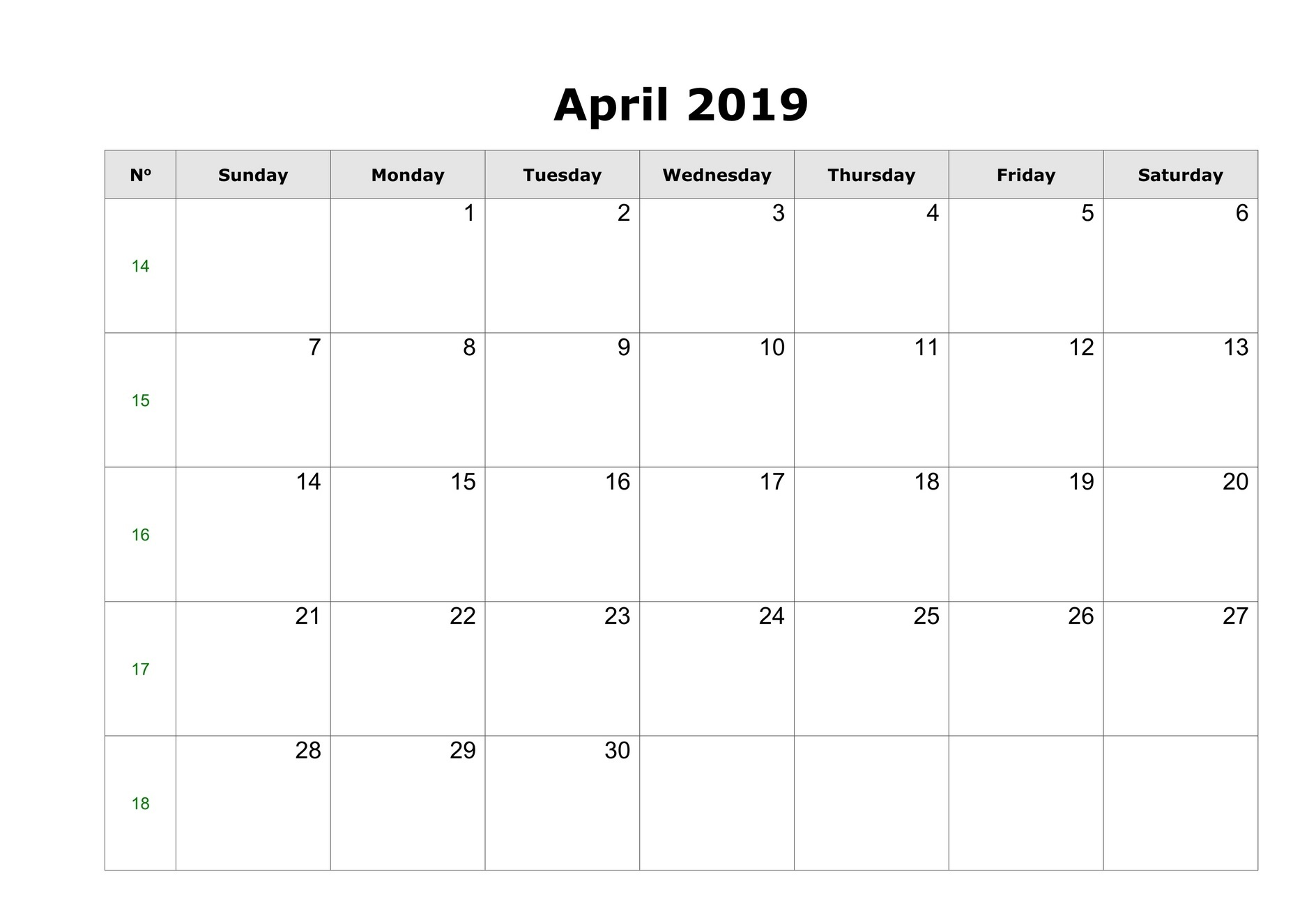April 2019 Blank Calendar Free Download