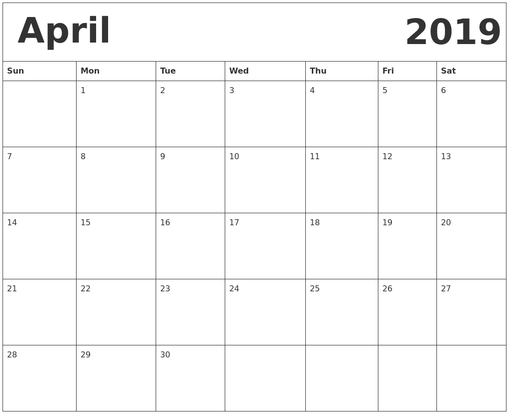 April 2019 Blank Calendar Portrait