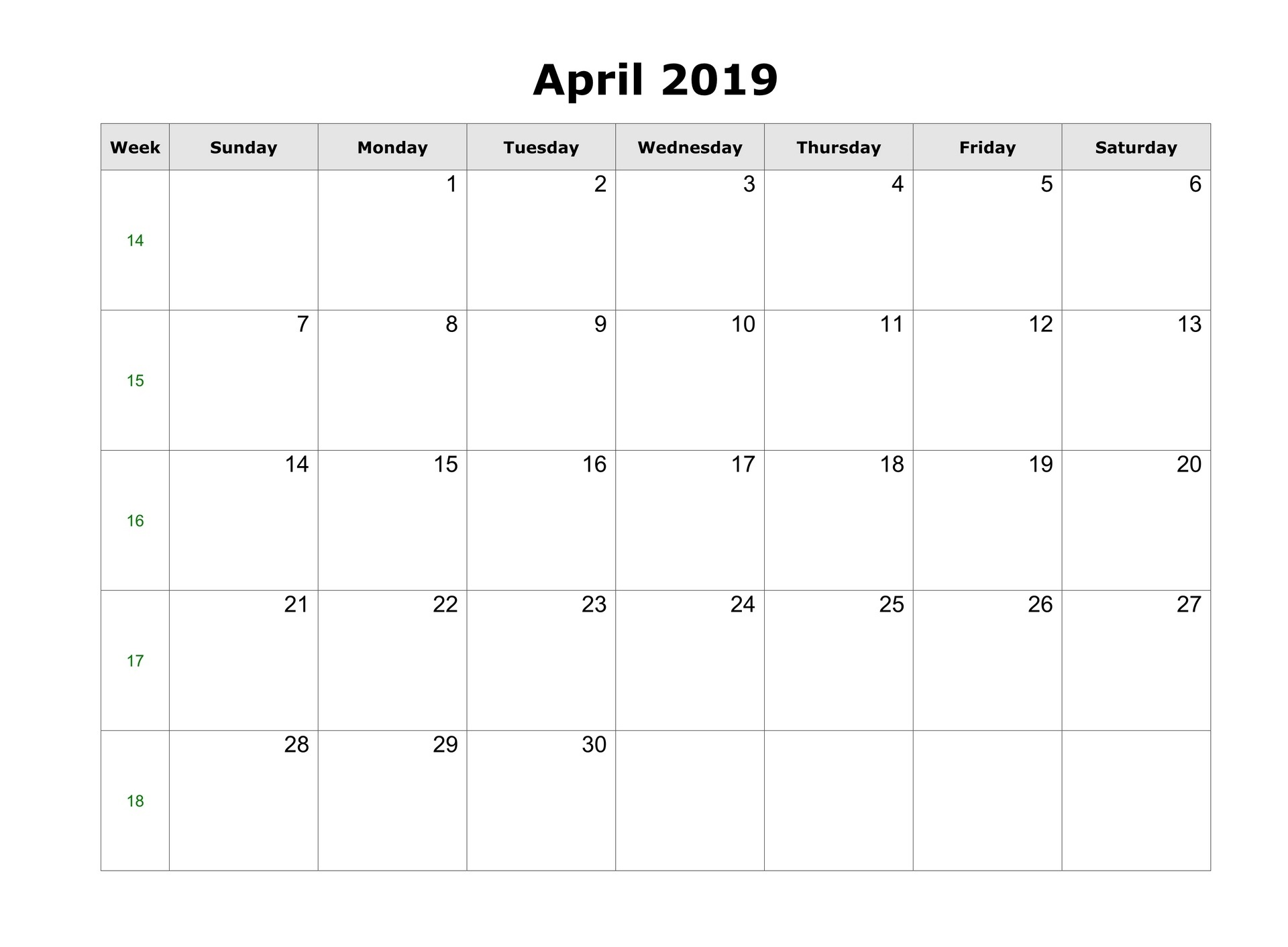 April 2019 Blank Calendar Tumblr Free Download
