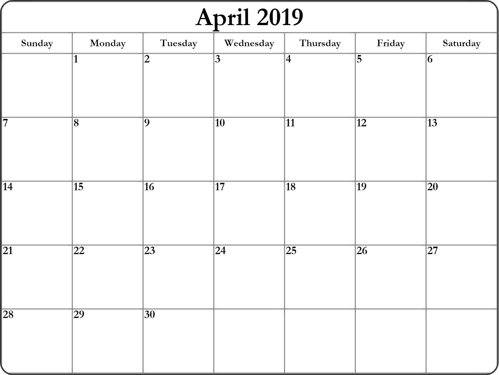 April 2019 Blank Calendar Word, Pdf, Excel