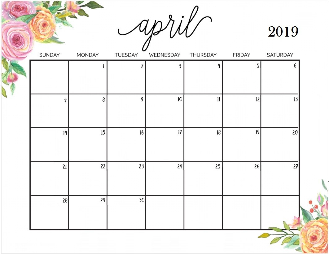 Monthly Printable Calendar 2019 April 2019 Calendar