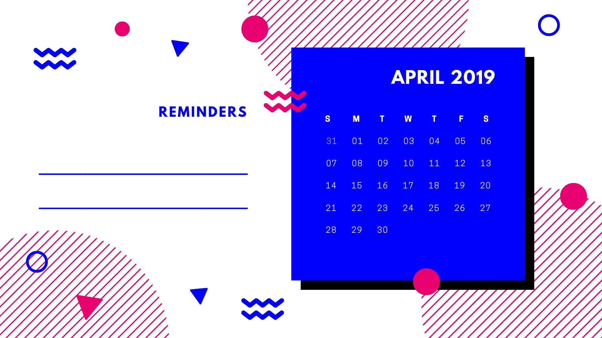 April 2019 Calendar Desktop Wallpapers
