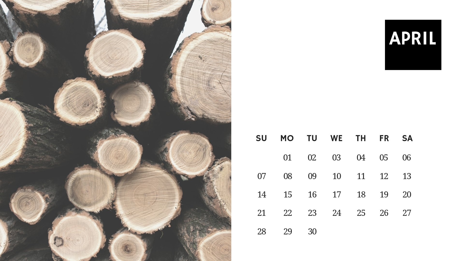 April 2019 Calendar Nature Wallpaper