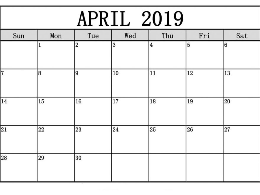 April 2019 Calendar Printable Full Page