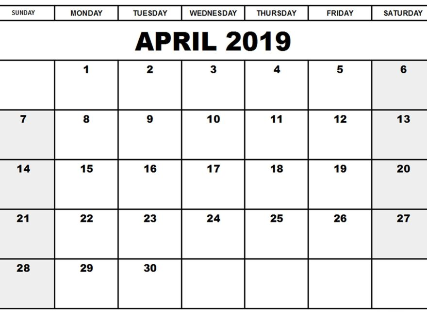 April 2019 Calendar Template Full Print