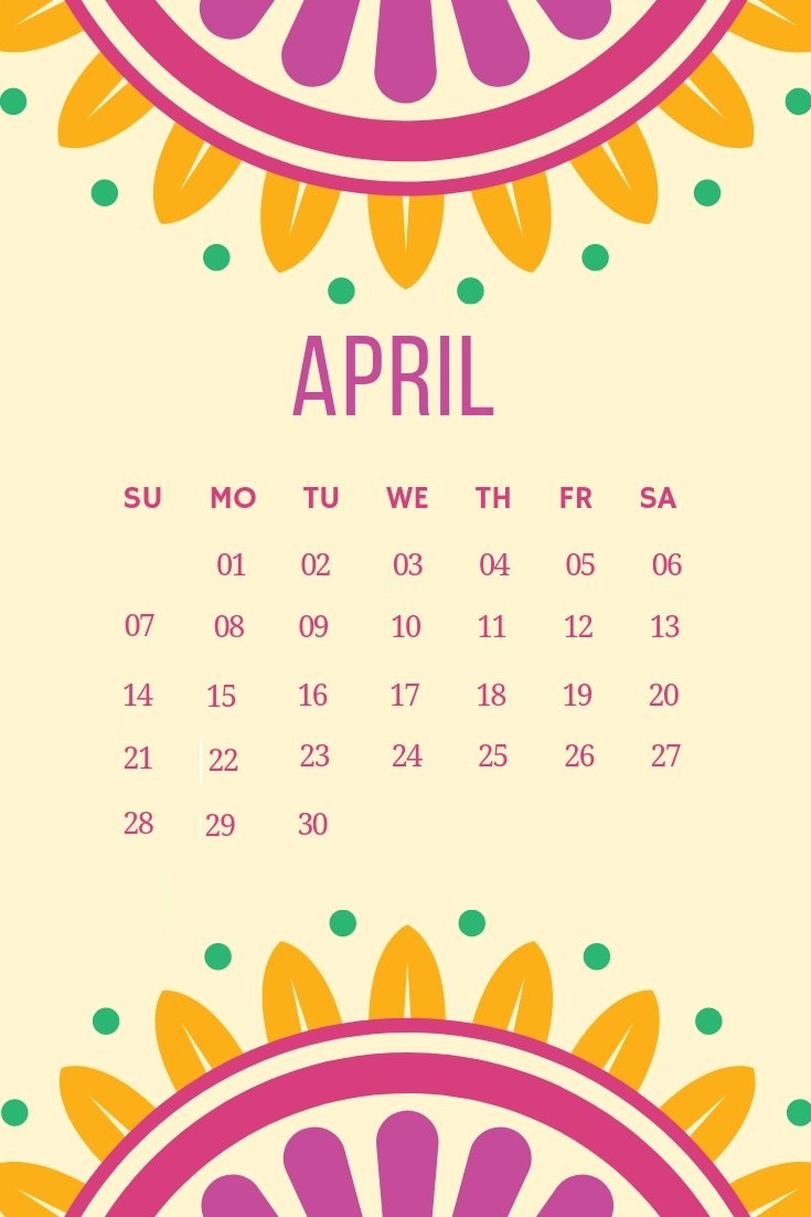 April 2019 Cute Design Wall Calendar
