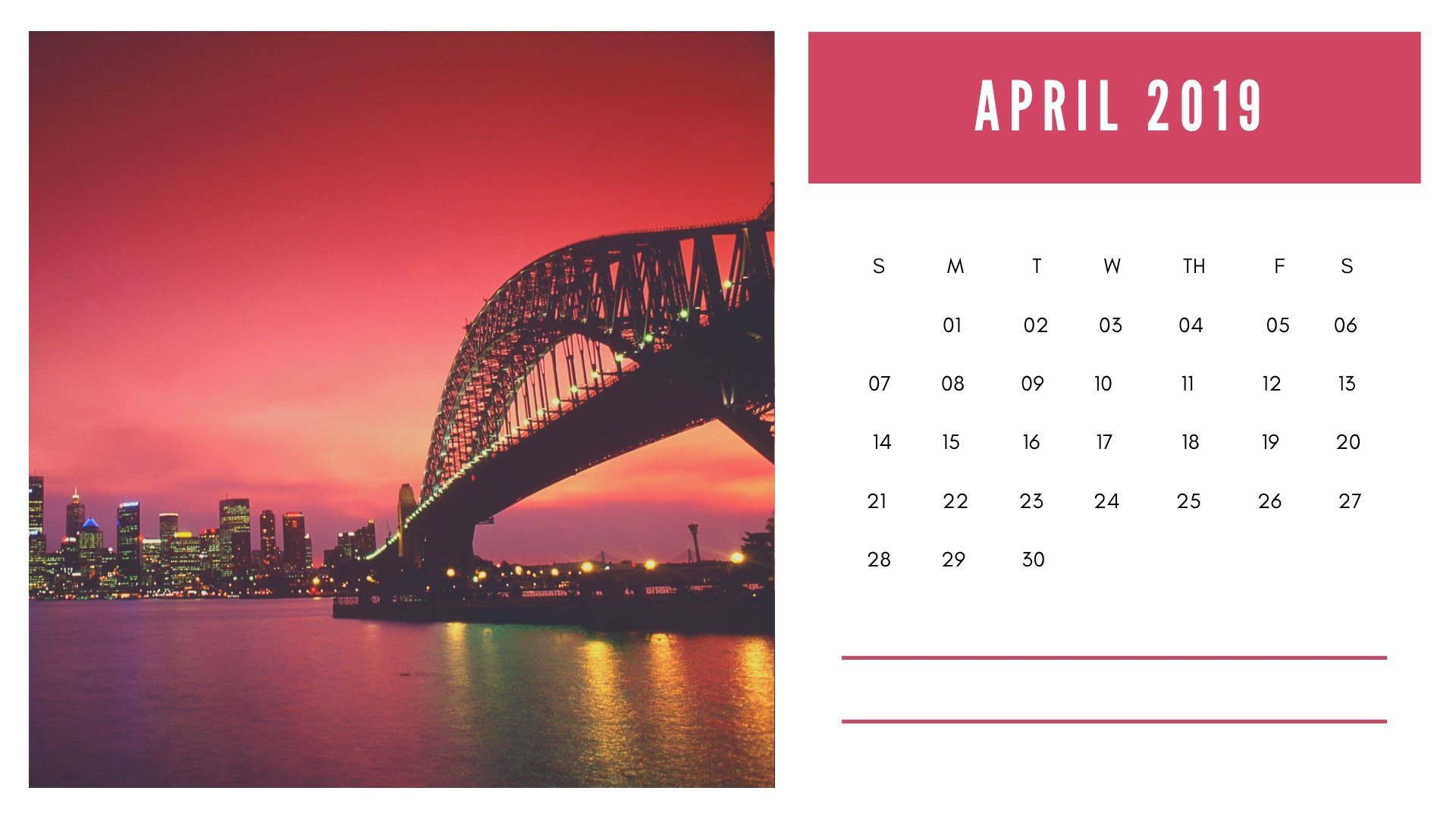 April 2019 HD Calendar Wallpapers
