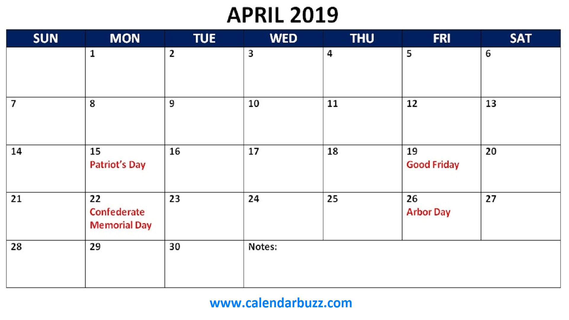 April 2019 Holidays Calendar Printable