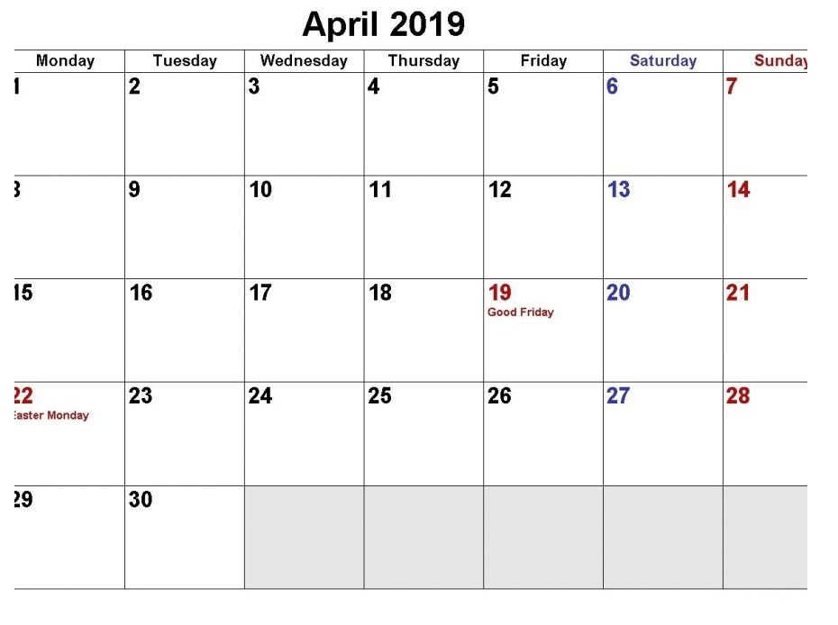 April 2019 Holidays Printable Calendar