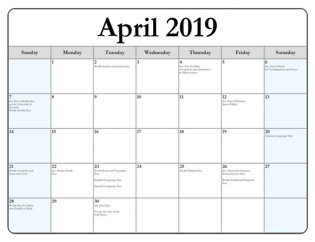 April 2019 Holidays and Festivals