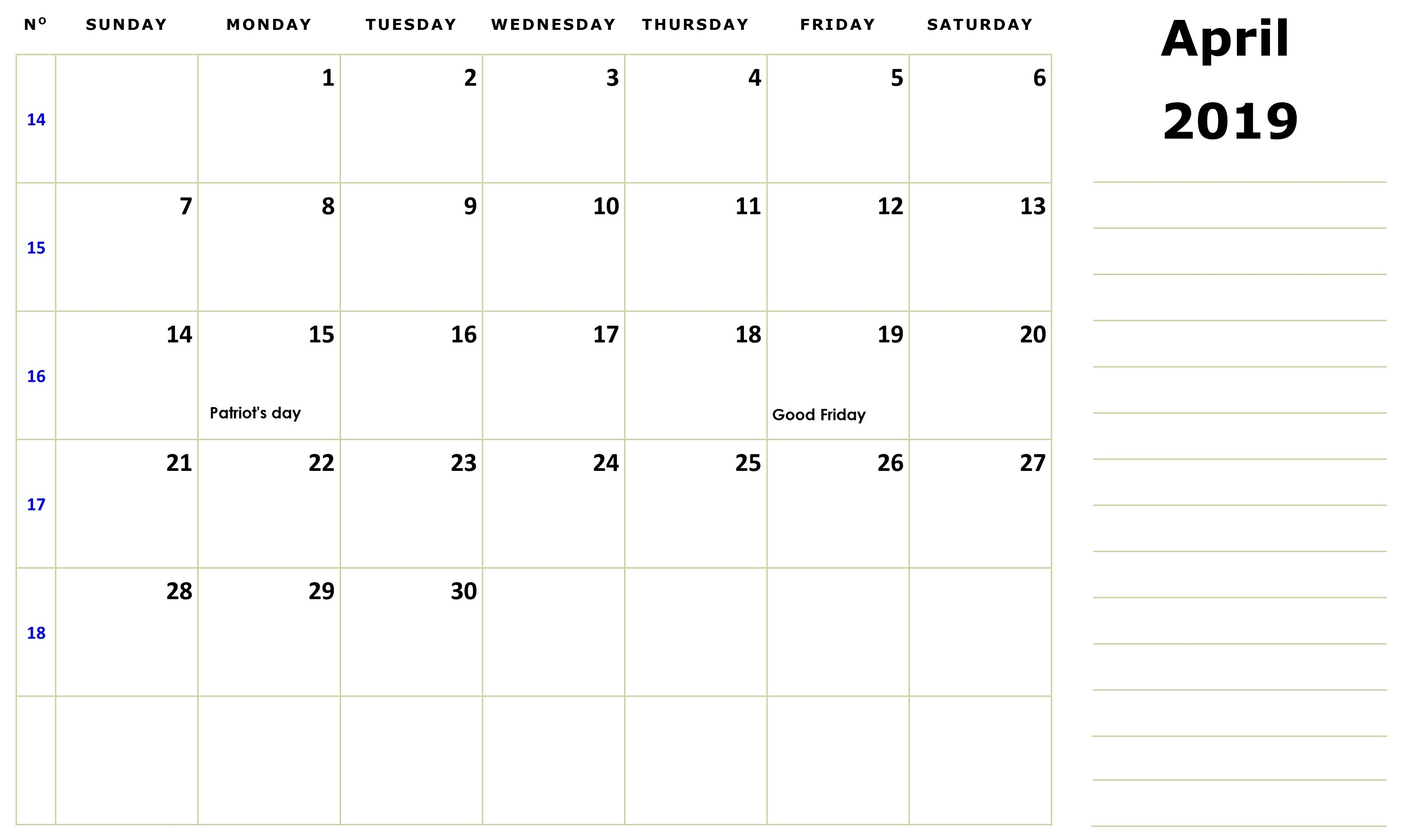 April 2019 Monthly Holidays Calendar
