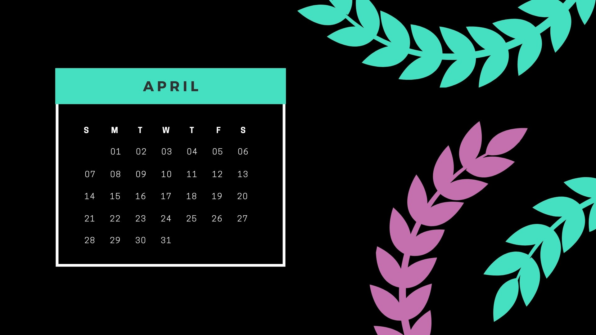 April 2019 PC Calendar Wallpaper