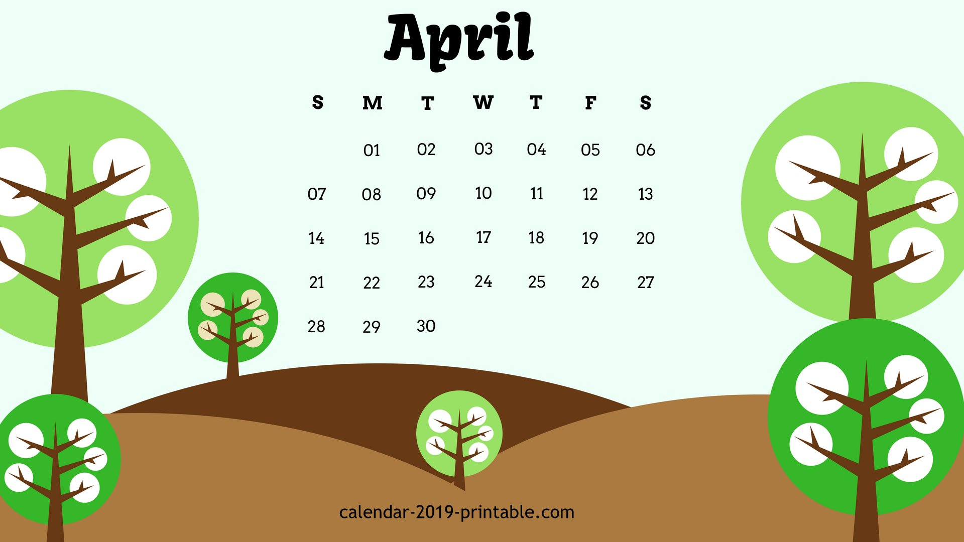 April 2019 Unique Calendar Wallpaper