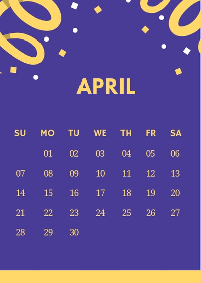 April 2019 iPhone Blue Calendar Wallpaper
