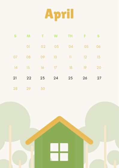 April 2019 iPhone Cute Calendar Wallpaper