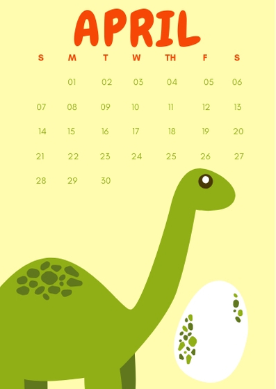 April 2019 iPhone Dino Calendar Wallpaper