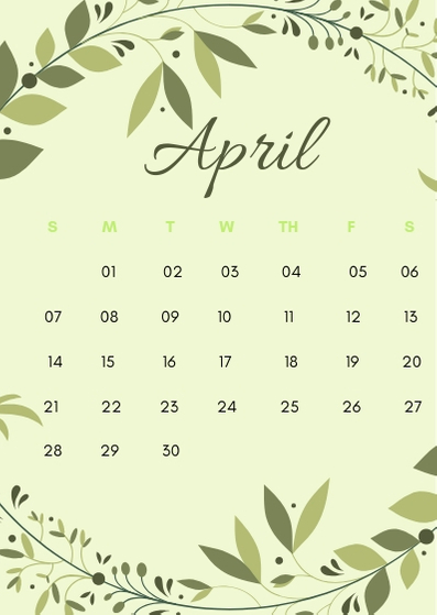 April 2019 iPhone Flower Calendar Wallpaper