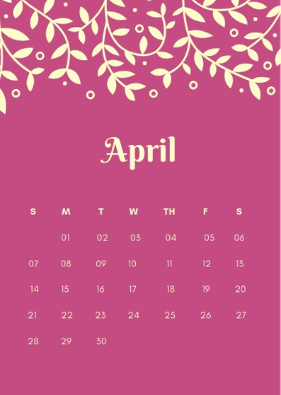 April 2019 iPhone Home screen Calendar