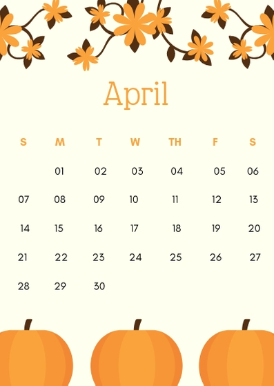 April 2019 iPhone Pumpkin Calendar Wallpaper