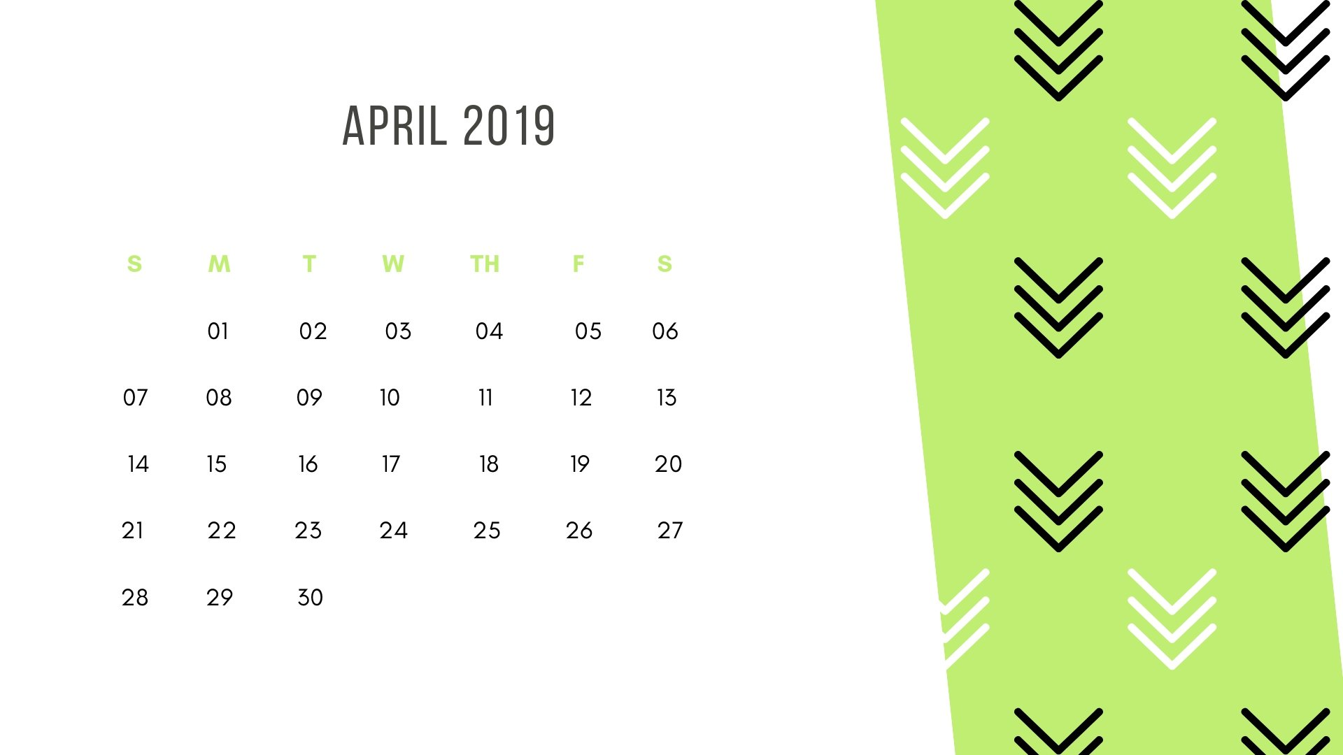 April Desktop HD Calendar Wallpaper