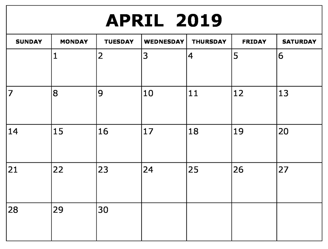 Blank April 2019 Calendar Download