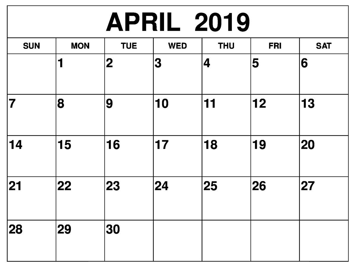 Blank April 2019 Calendar Downloadable