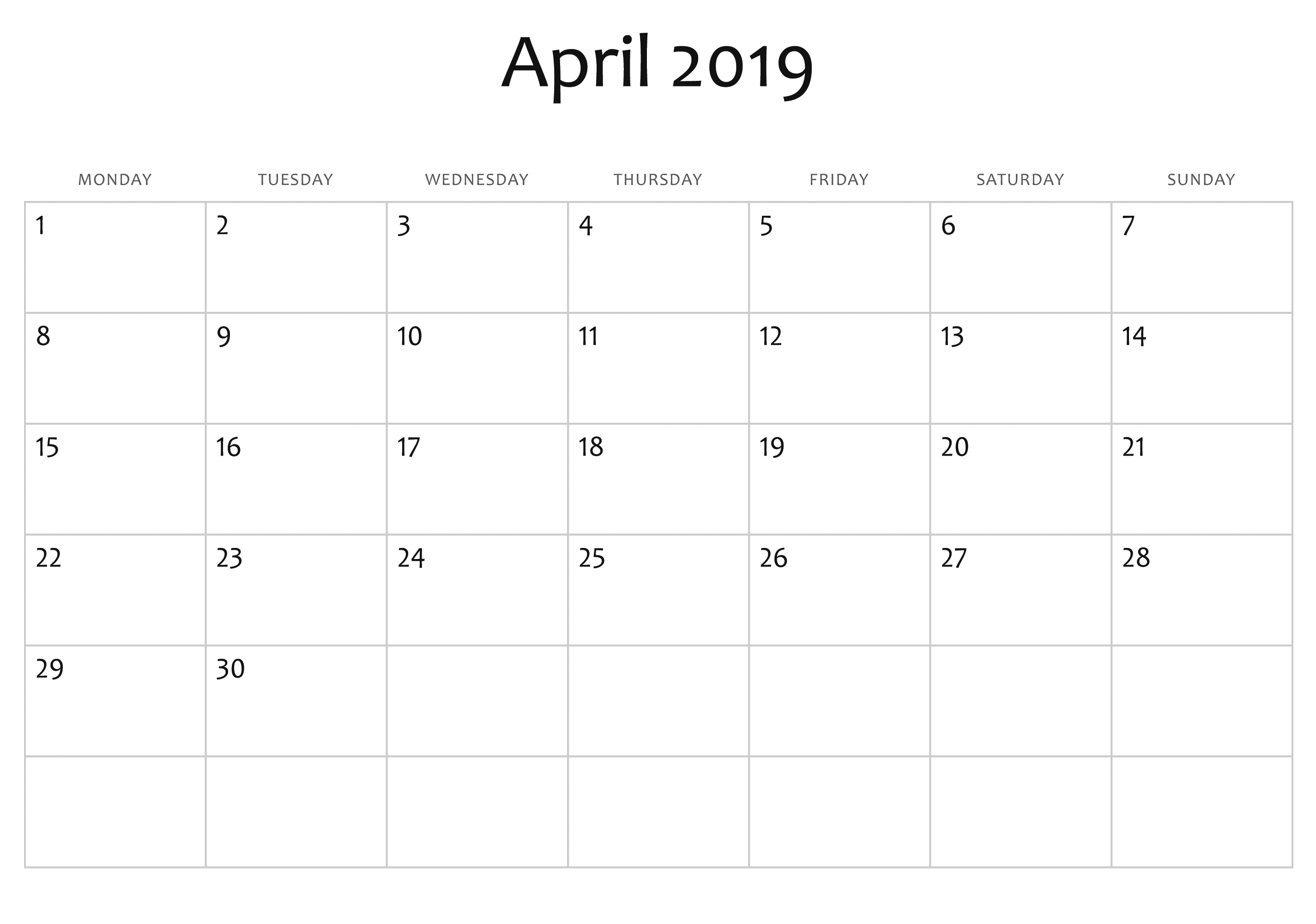 Blank April 2019 Calendar Free Download