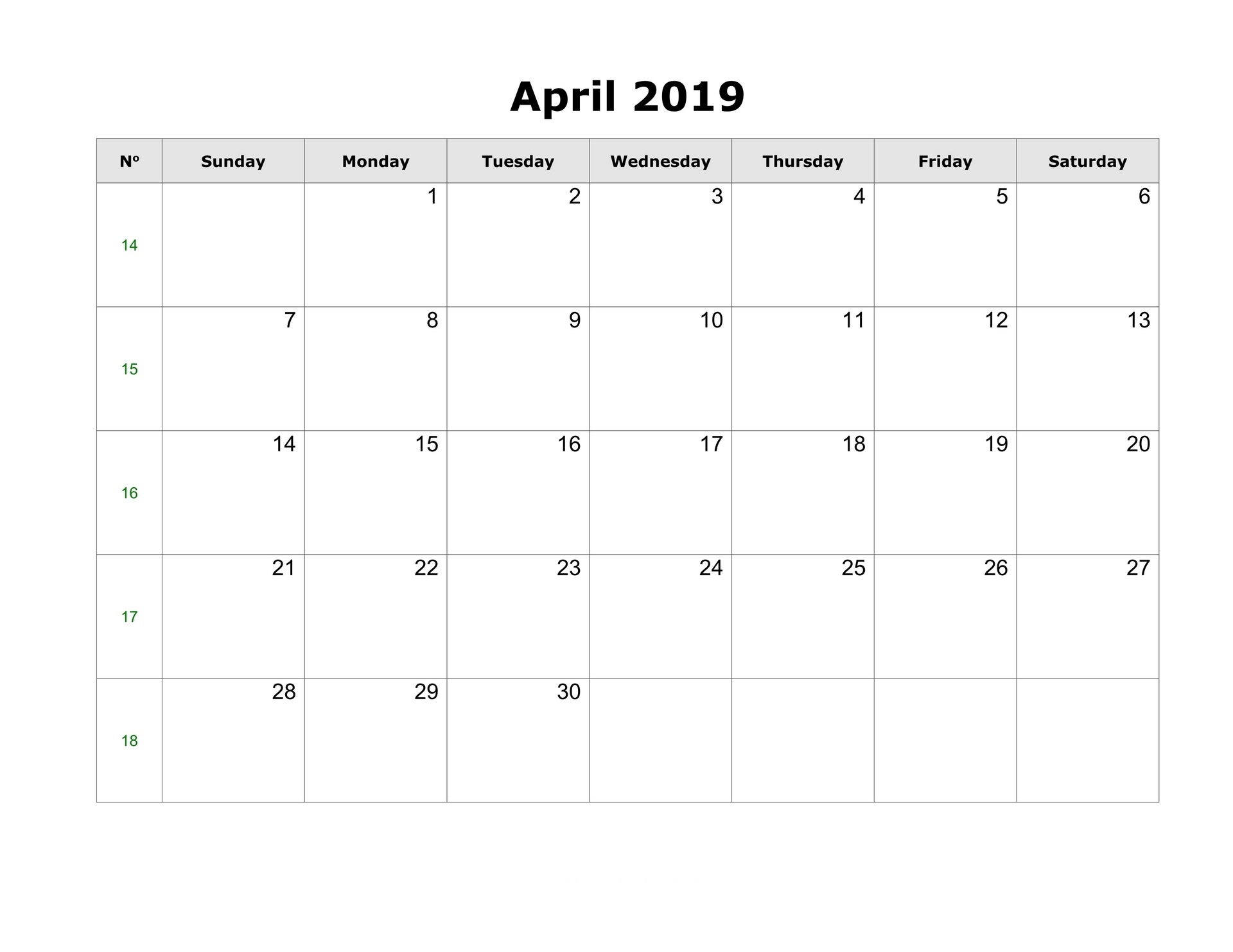 Blank April 2019 Calendar With Holidays