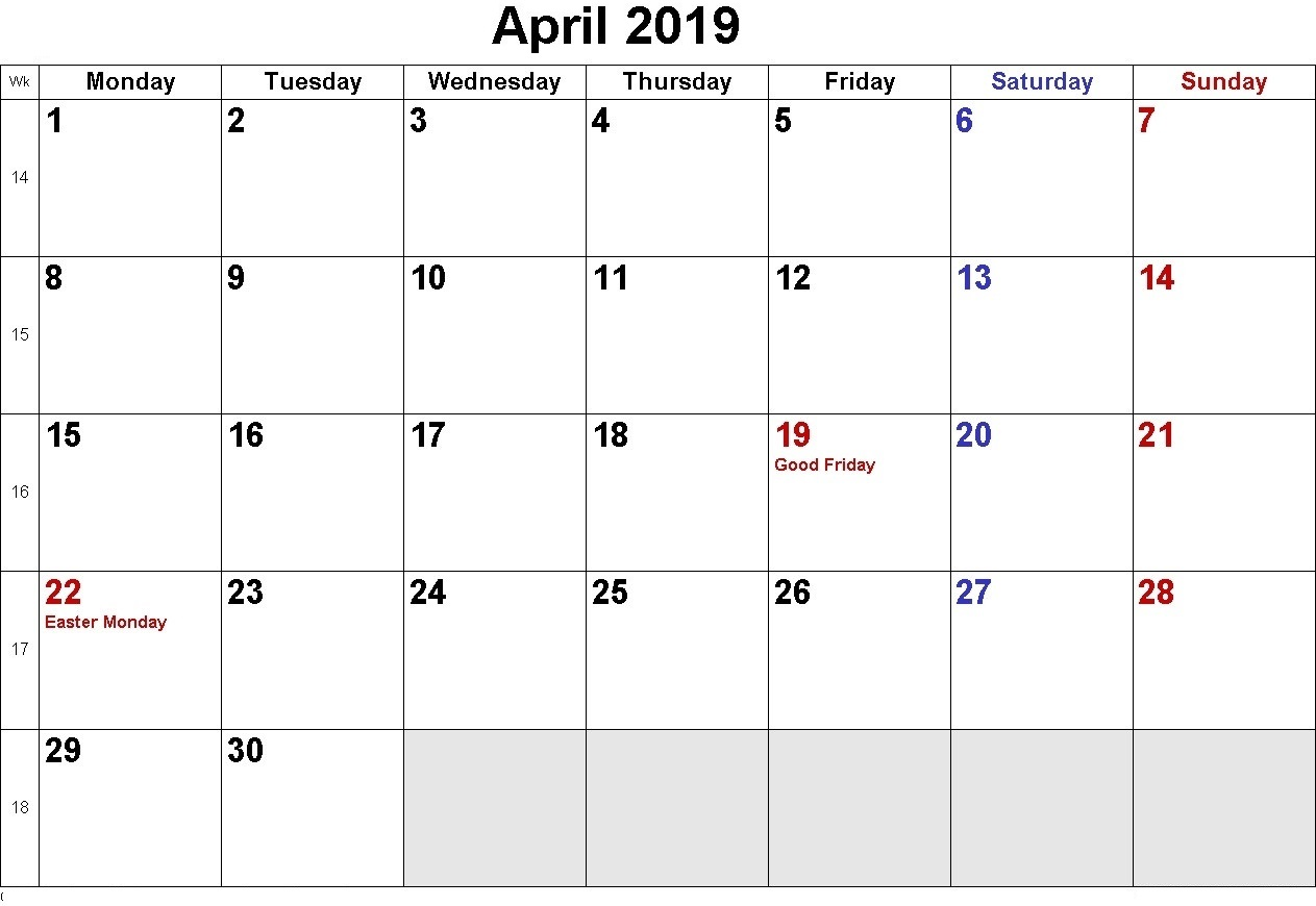 Blank April 2019 Holidays Calendar