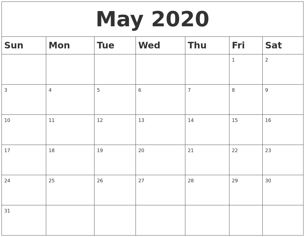 Blank Calendar For May 2020