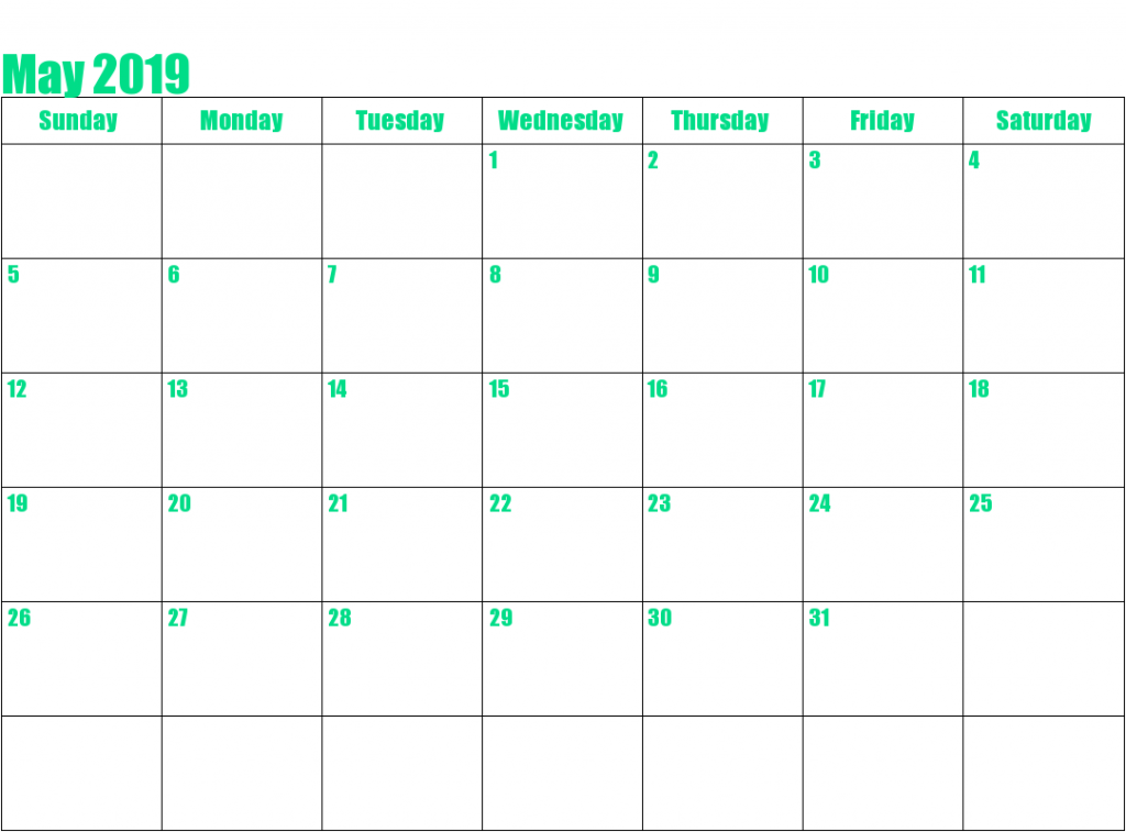 Blank Calendar Pages May 2019