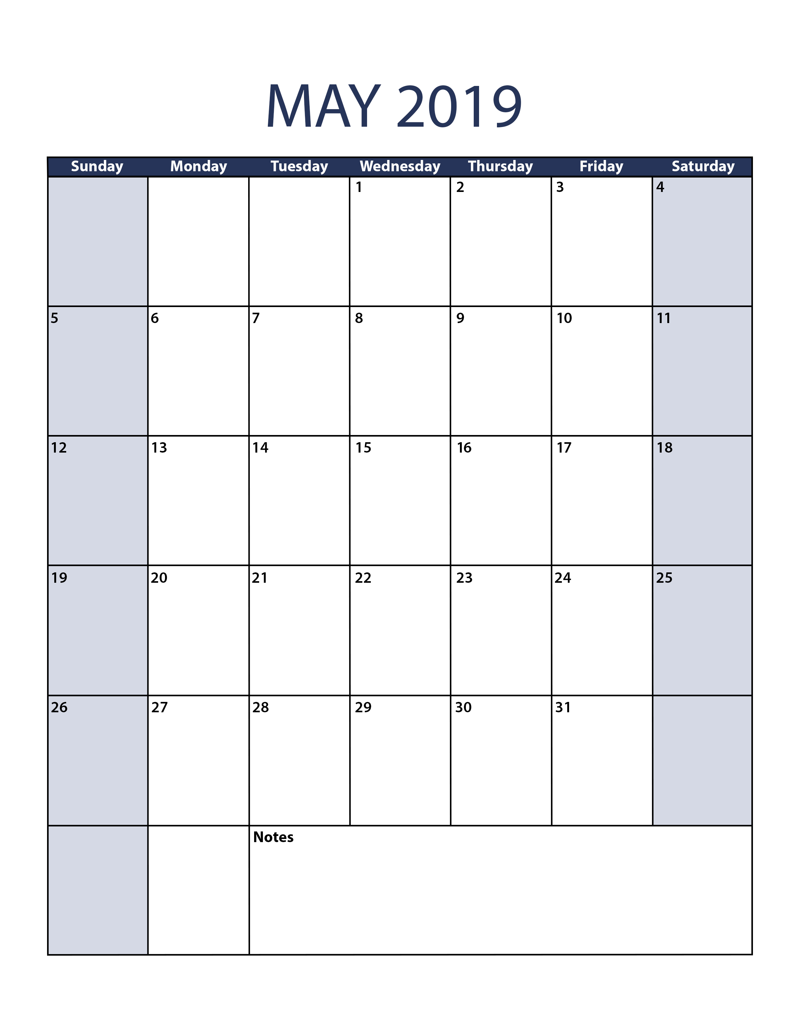 Blank May 2019 Calendar To Print