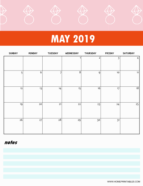 Cute May 2019 Calendar Template With Notes