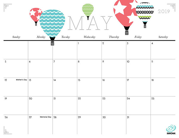 Cute May 2019 Printable Calendar