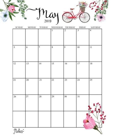 Cute May 2019 Wall Calendar
