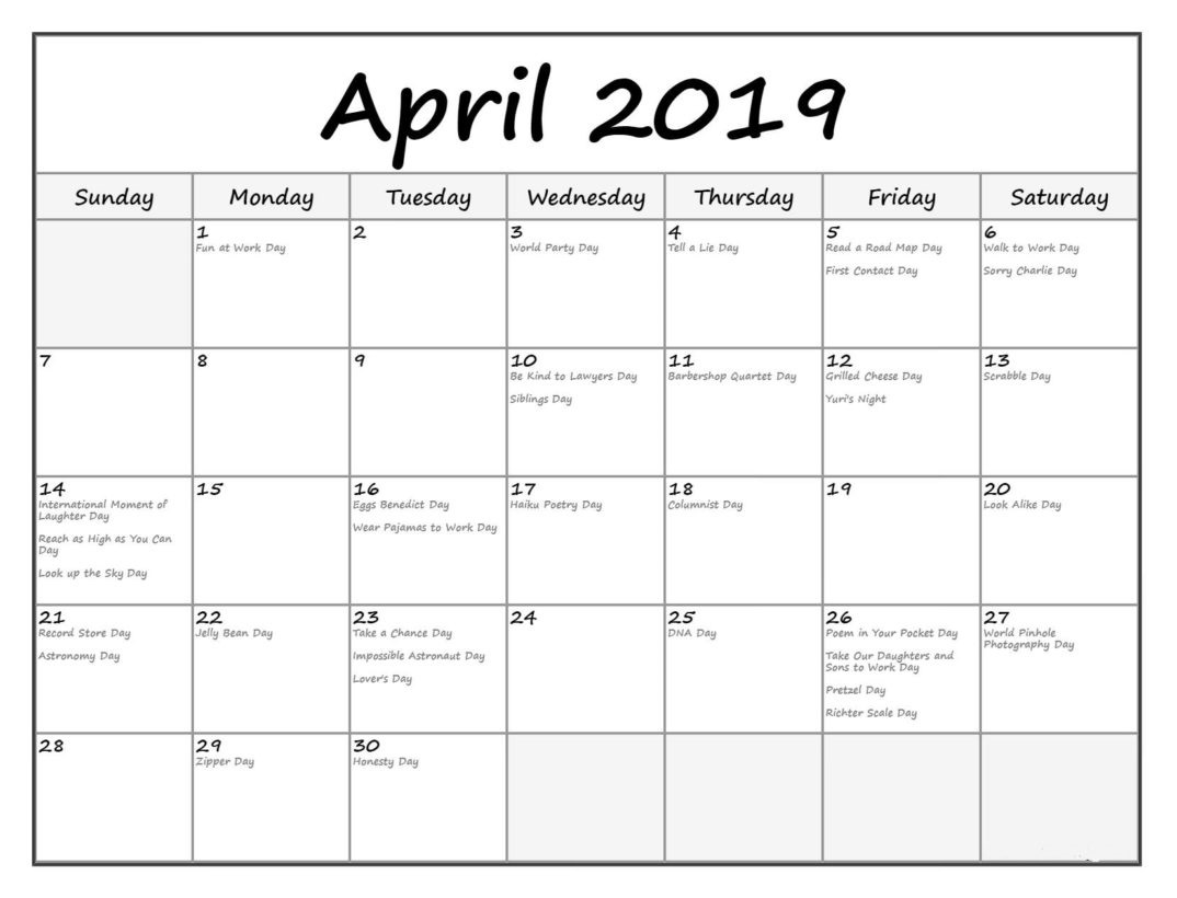 Editable April 2019 Holidays Calendar