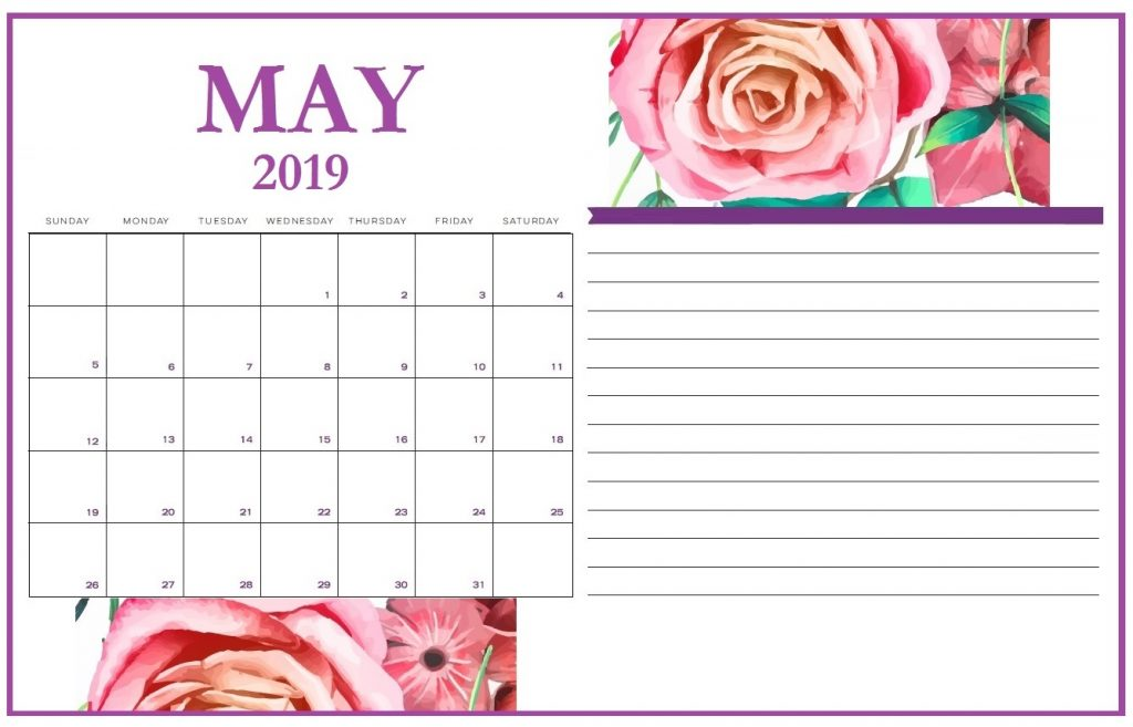 Floral May 2019 Beautiful Calendar Template with Notes