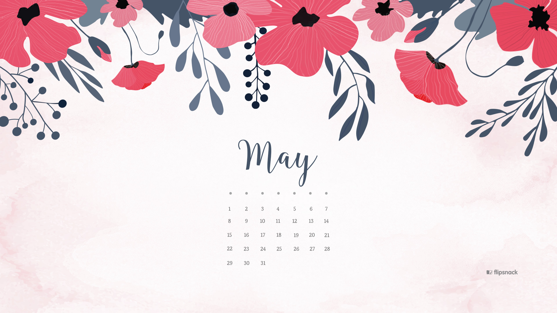 Floral May 2019 Desktop Screensaver Calendar