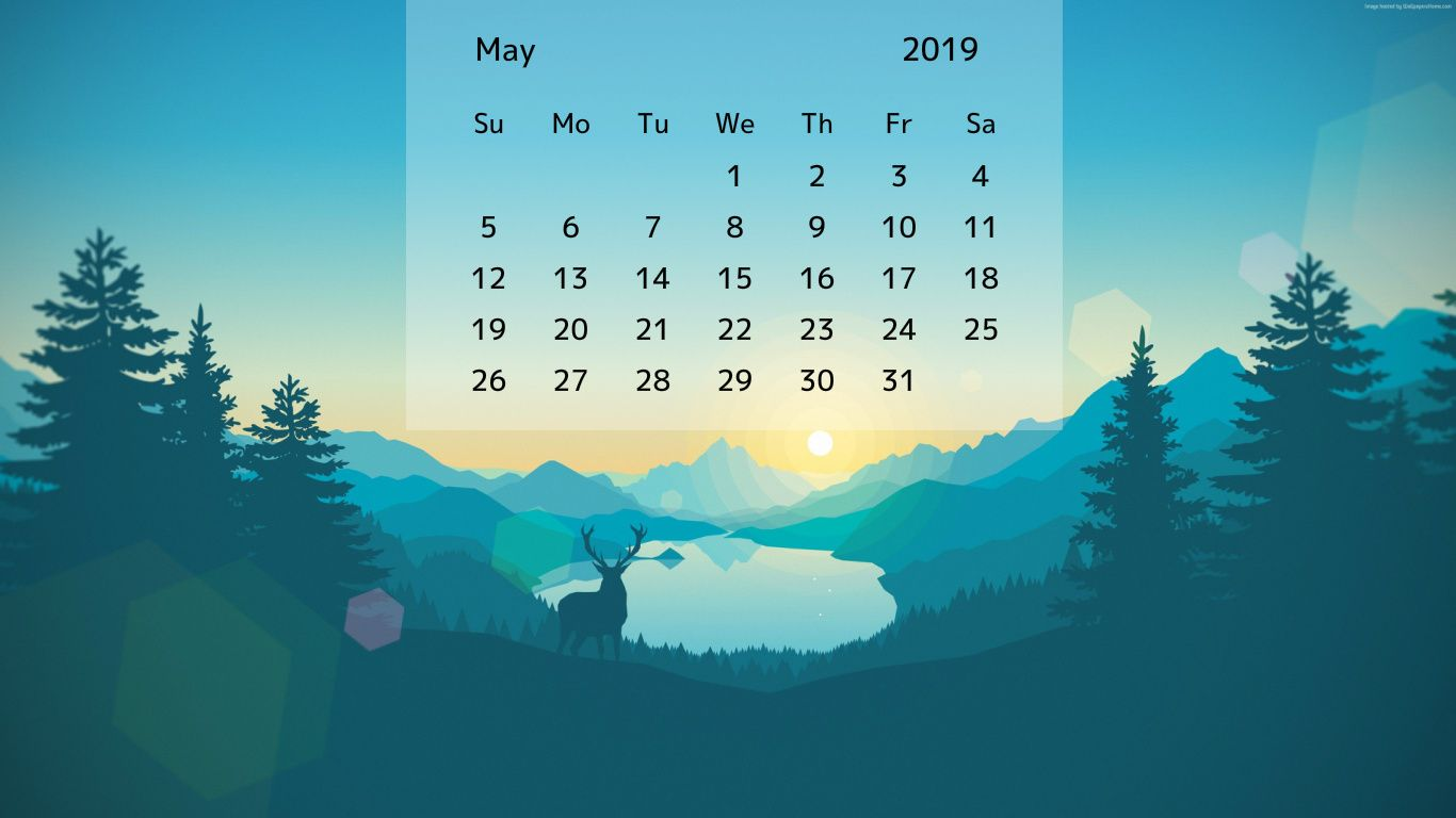 Free May 2019 Desktop Calendar Wallpaper