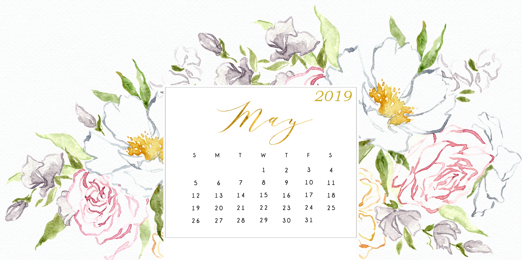Free May 2019 HD Calendar Wallpaper