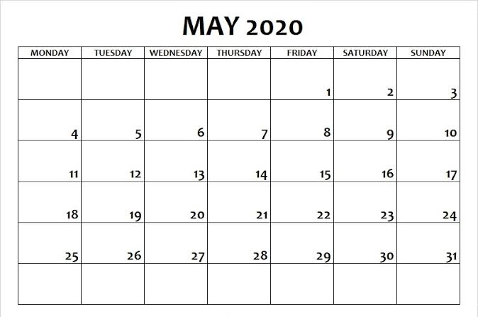 Free May 2020 Calendar with Holidays