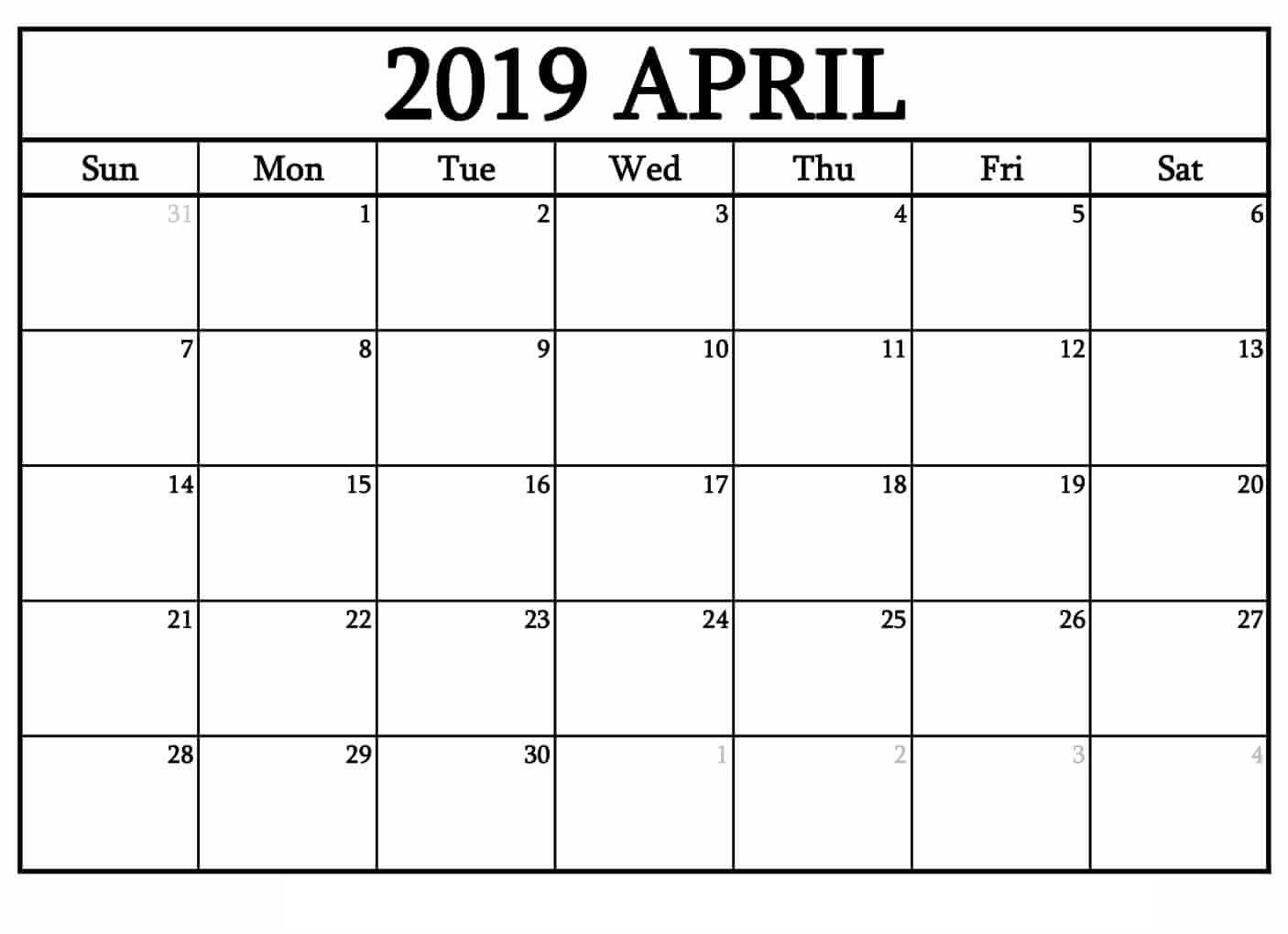 Free Printable April 2019 Calendar Decorative